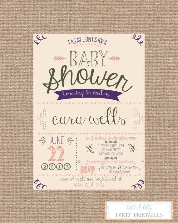 printable vintage shabby chic baby shower invitation on etsy