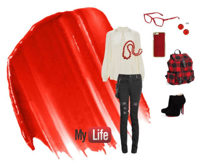 """Red"" by alinersmolleri on Polyvore featuring moda, Dolce&Gabbana, Urban Decay, Aéropostale, Temperley London e Christian Louboutin:"