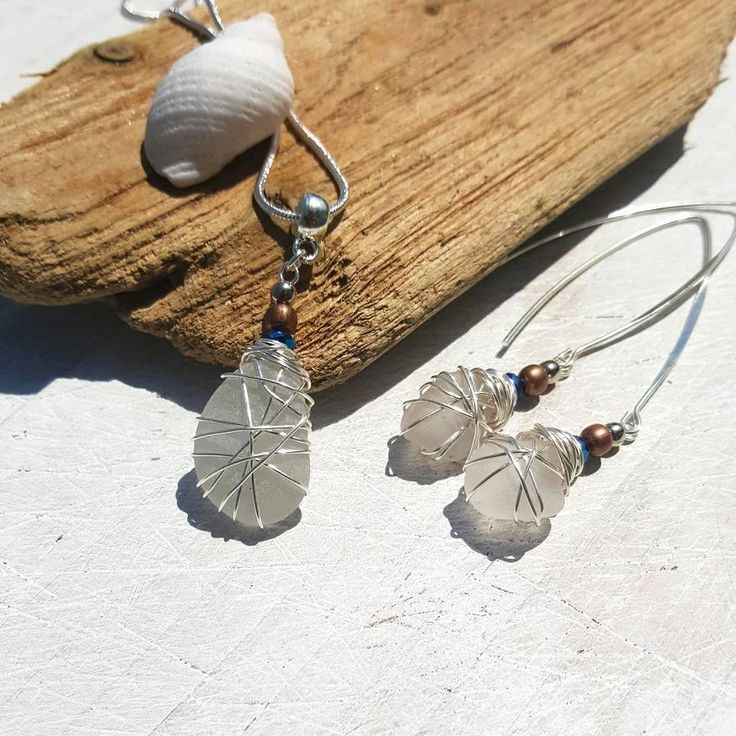 This boho jewelry set consists of an Irish seaglass necklace and drop earrings. Romantic and earthy and perfect for a beach wedding. I know that so many people, like me, feel the call of the sea and the salty breeze in their soul. My aim is to bring a little slice of that romantic ocean escape to