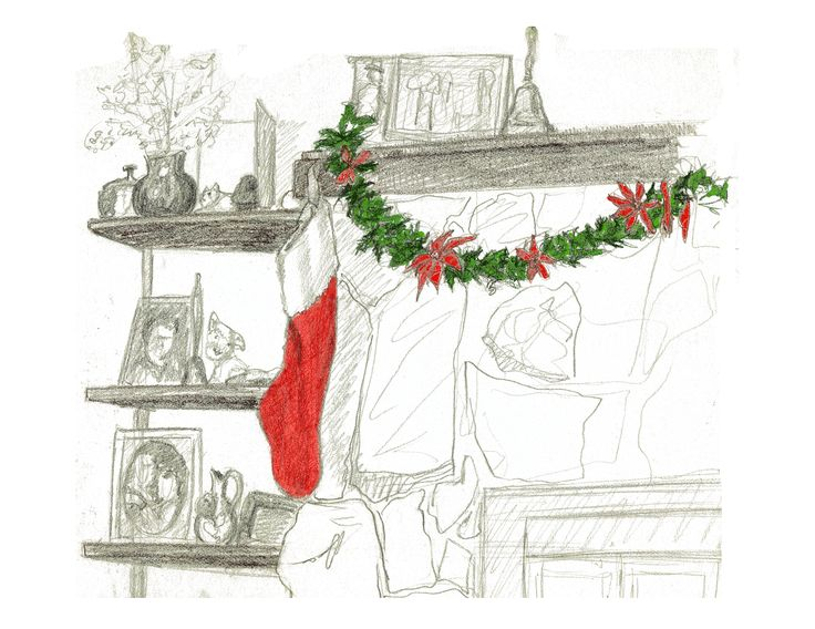 """Birch Bay Christmas 2:  colourized pencil drawing of a mantlepiece in a cabin, decorated for Christmas with green swag and red Christmas stocking.  A pleasant and homey Christmas image.  Full Page size 3300 x 2550px (300ppi); prints at 11 x 8.5""""."""