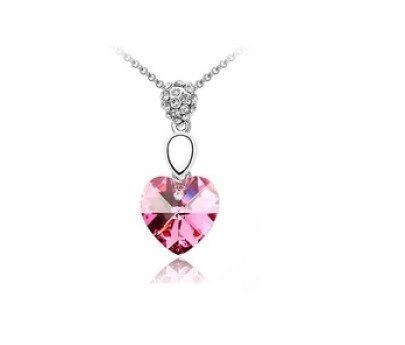 Collier coeur en cristal rose swarovski
