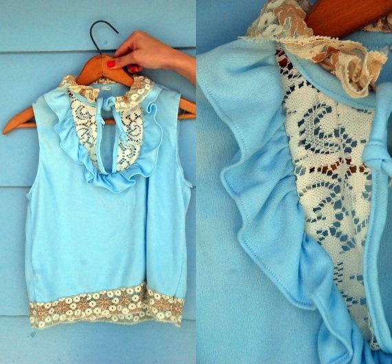 1970's Blue Lace Top.: 1970S Powder, 1970S Blue