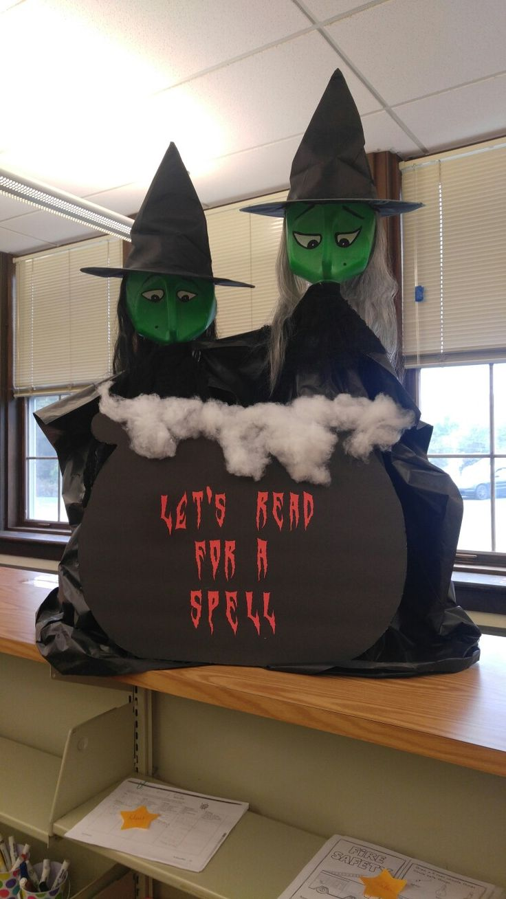 Library witches...let's read for a spell! Milk jug heads!