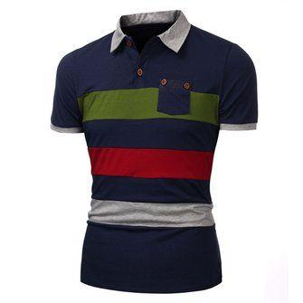 Summer Mens Button Color Stripes Hit Color Short-sleeved POLO Shirt T-shirt at Banggood
