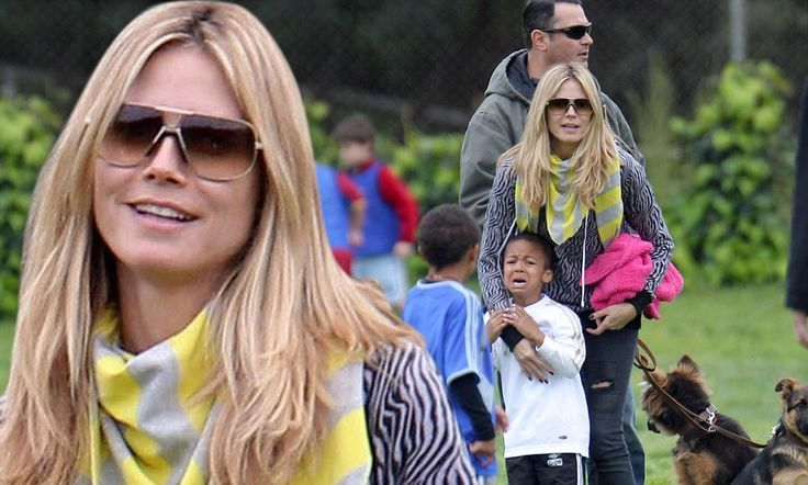 A day out Heidi Klum style: Four children, two dogs, one bodyguard and a football - but it still all ends in tears
