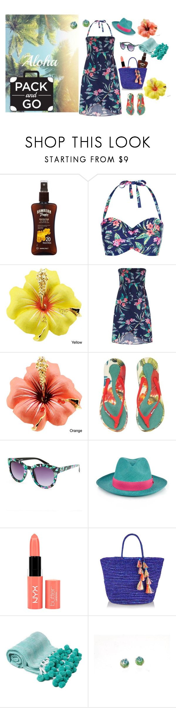 """Pack and Go: Hawaii"" by giampourasjewel ❤ liked on Polyvore featuring Lipsy, Accessorize, Monsoon, Ozify, Full Tilt, Prymal, NYX, Sensi Studio and Packandgo"