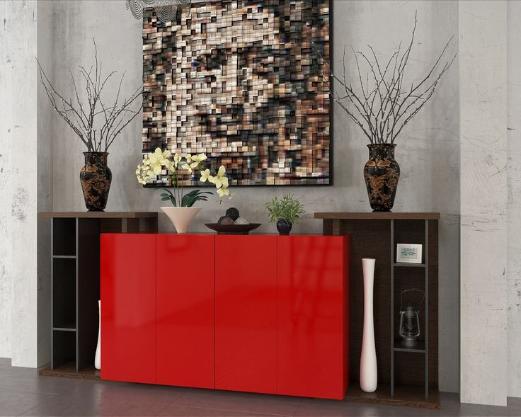 Industrial Element Hall Way Cabinet Red Lacquer