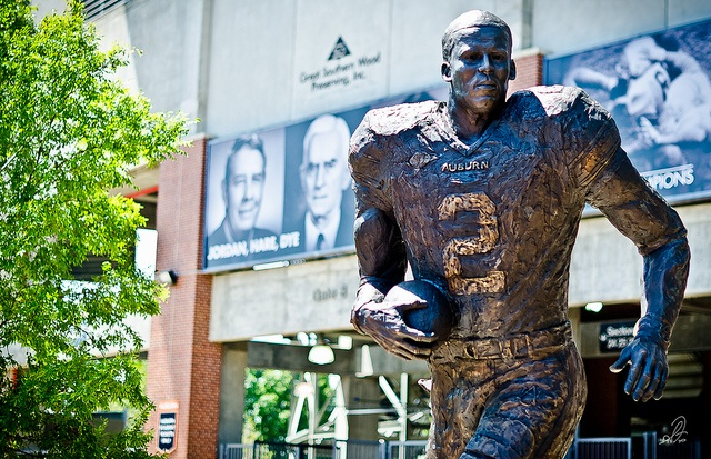 The new Cam Newton Heisman Trophy Statue outside of Jordan-Hare Stadium