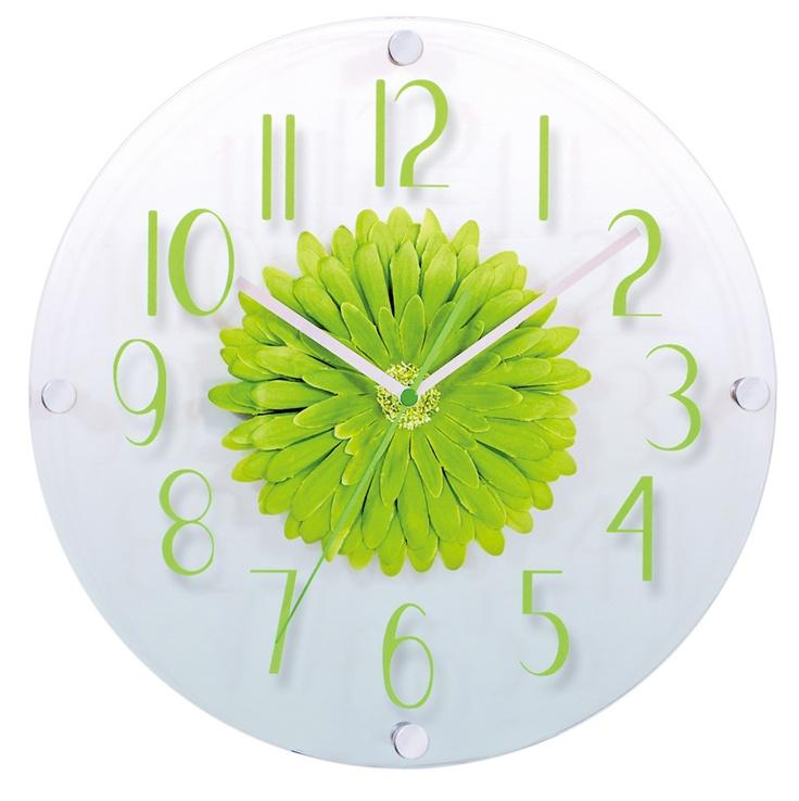 VINIS Nástěnné skleněné hodiny zelená květina H9692