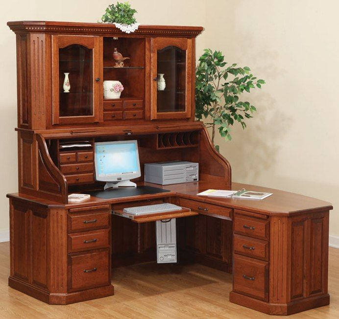 Antique Corner Desk with Hutch | Fifth Avenue Executive Roll Top Desk with  Hutch | Office Options | Pinterest | Antiques, Desks and Products - Antique Corner Desk With Hutch Fifth Avenue Executive Roll Top