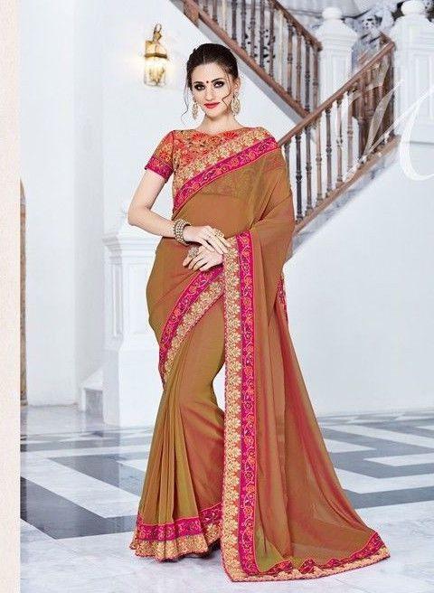 New Indian Designer Ethnic Wear Bollywood Saree Wedding Wear Saree Premium Brown #RadhaKrishnaExports #BollywoodSaree #WeddingWear