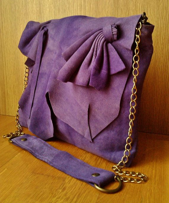 Purple Leather Ruffle Flower Shoulder Bag, Purple Leather Boho Hippie Ruched Bag, Coachella Boho Hippie Purple Leather Bag
