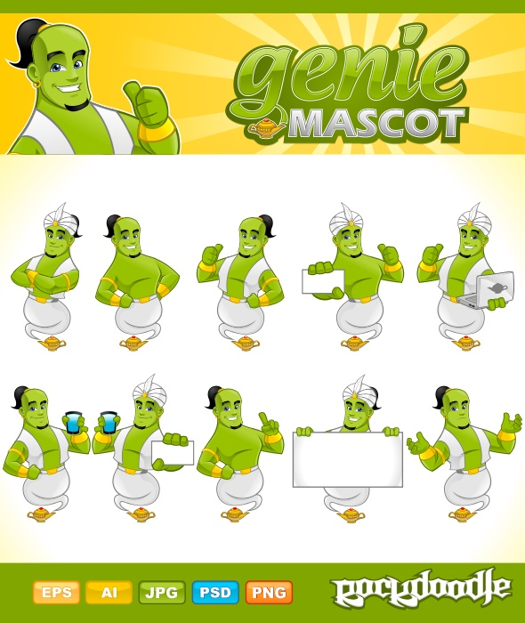 Genie Mascot high-quality detailed mascot available with 10 poses with Genie Vest, 3 different smiles expressions and an additional of Genie Lamp.
