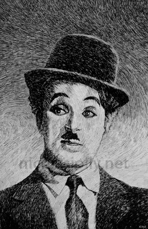 Charlie Chaplin - Portrait. Par Nicolas Jolly. Encre de Chine et plume.