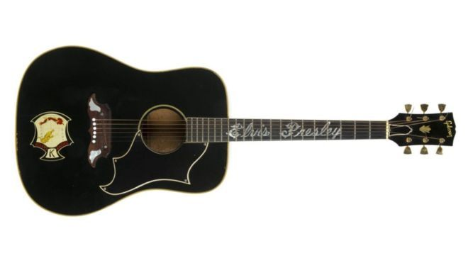 That guitar that Elvis Presley was given by his father has sold for $334,000  at an auction in New York. It is thought that Vernon Presley changed the finish on the Gibson Dove to black after his son earned a black belt in karate. Presley gave the guitar to a fan during a concert in North Carolina in 1975. That guitar was used by Elvis on stage from 1971 to 1975.
