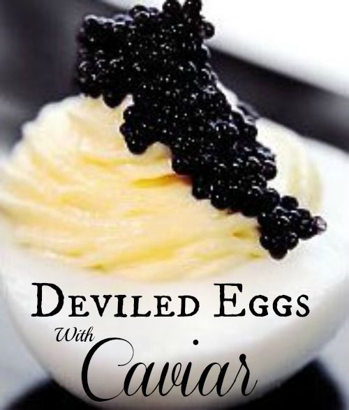 Deviled Eggs with Caviar Recipe | whatscookingamerica.net |  #christmas #newyears