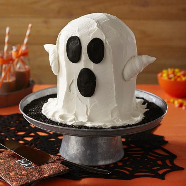 Ghost Cake - Let this sweet ghostly apparition haunt your Halloween party. The cake is easy to make using Wilton 6 in. Round Pan and buttercream icing.