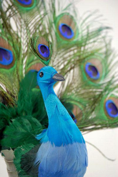 "Artificial Birds  16"" Peacock  Open Fan  $14 each / 2 for $12 each"