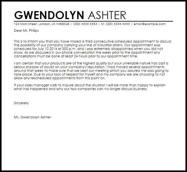missed appointment letter letters livecareer policy sample ...