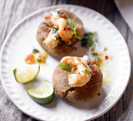 Create crispy fried patties using spiced pulses, then fill with prawns, chilli, coriander and tomato, Brazilian-style
