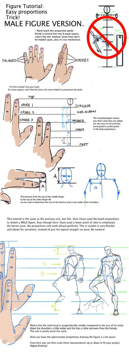 Easy drawing tutorial. Male figure version by Grafight on DeviantArt