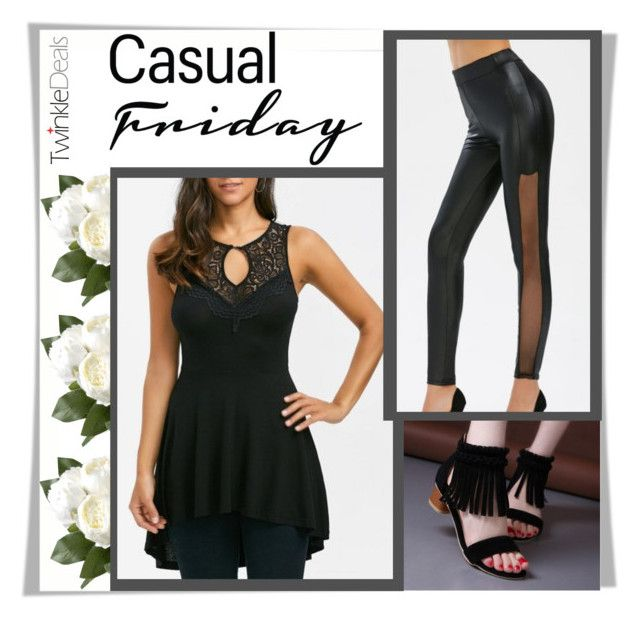 """""""Casual friday with Twinkledeals"""" by melissa995 ❤ liked on Polyvore featuring National Tree Company, StreetStyle, casual, black and everyday"""