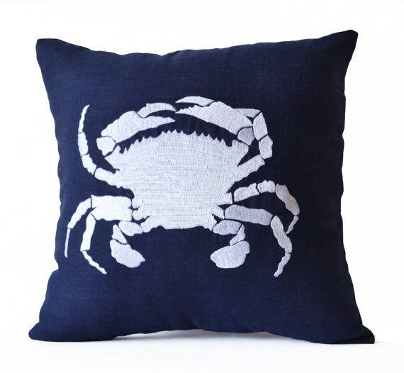 Navy Blue Throw Pillow Case -Beach Decor Nautical Pillows -Embroidered Crab Accent Linen Pillow  -16x16- Etsy