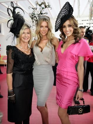 Actress Olivia Newton John, Model Jennifer Hawkins and WAG Model Rebecca Twigley at the Kentucky Derby