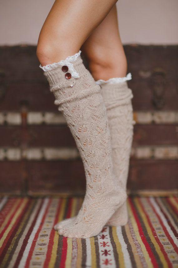Boot Socks Taupe Knitted Lace Trim Fashion Socks by ThreeBirdNest, $48.00