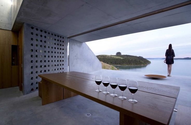 The building is a simple viewing platform, and wine tasting room for the use of residents of a small beach side development in the far north of New Zealand.