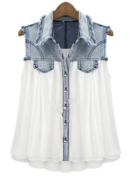 Stiching Denim Lapel Sleeveless White Chiffon Shirt