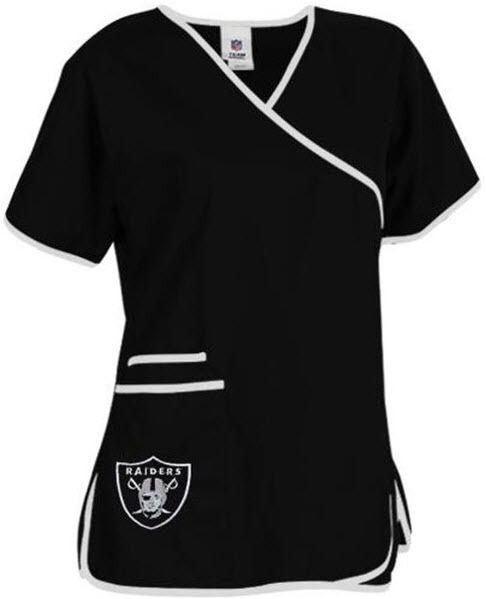 Oakland Raiders Women's Mock Wrap Scrub Top