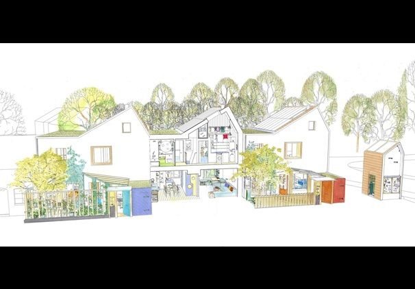 Ask Sakula - prototype housing, Hampshire - cutaway elevation