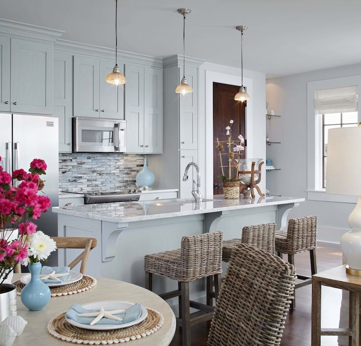 Summer House Style   Kitchens   Seagrass Barstools, Seagrass Counter  Stools, Blue Cabinets,