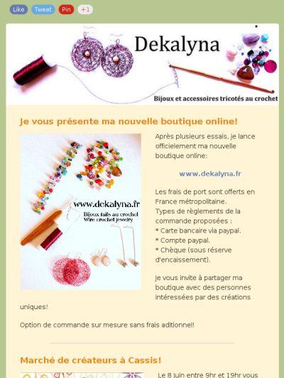 Premier newsletter mensuel par Dekalyna. Handmade by Dekalyna. Wire crochet jewelry. Made in France.