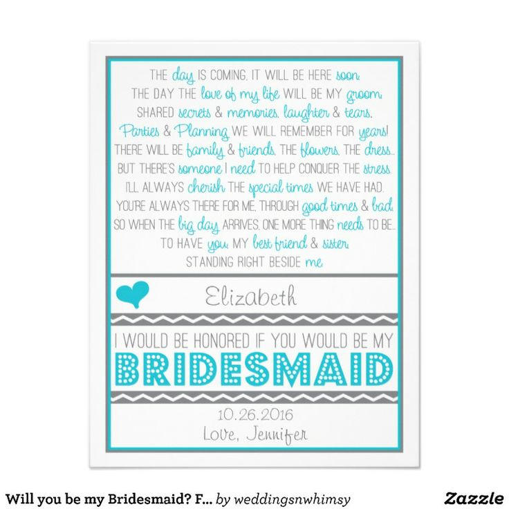 Will You Be My Bridesmaid? Fun Blue/Gray Poem Card