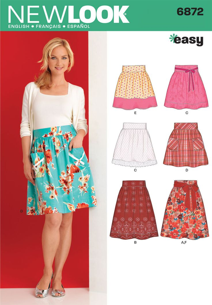 Womens Skirts and Sash Sewing Pattern 6872 New Look (again, should be easy to figure out by looking at)