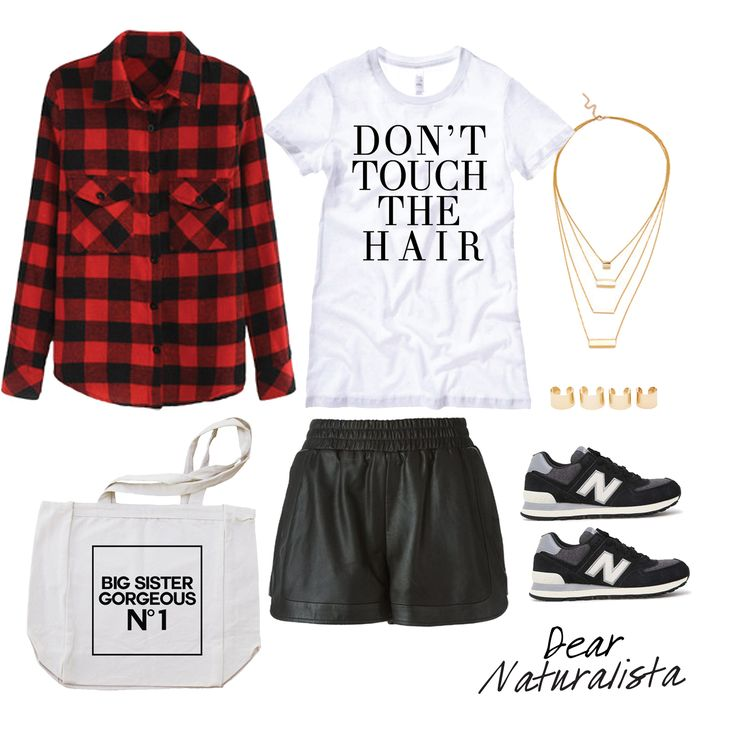 Don't touch the hair tshirt, leather shorts, new balance sneakers, canvas tote bag, plaid shirt outfit.
