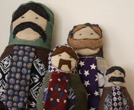 Mustachioed Matryoshka Dolls - upcycled from men's suits, ties and Hawaiian shirts.  By remainewicked and for sale on etsyMatryoshka Doll