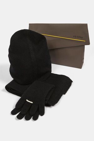 Ring Cashmere Gloves Black/Ivory
