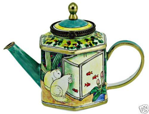 Mini K Chen kelvin chen enamel mini teapot cat goldfish teapot chen and cat