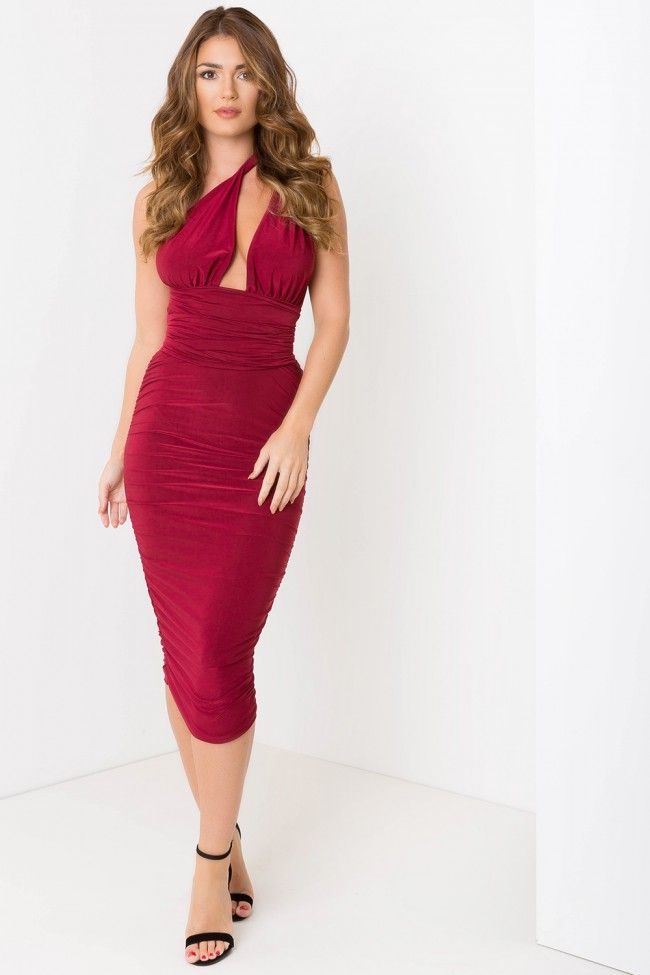 Camera Sutraa Multiway Ruched Midi Dress Wine