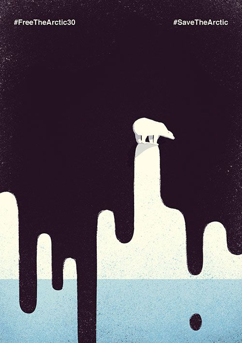 By Davide Bonazzi for Greenpeace. One of 30 works by Italian artists inspired by what happened to the Arctic 30 activists and the fate of the Arctic. #FreeTheArctic30, #SaveTheArctic