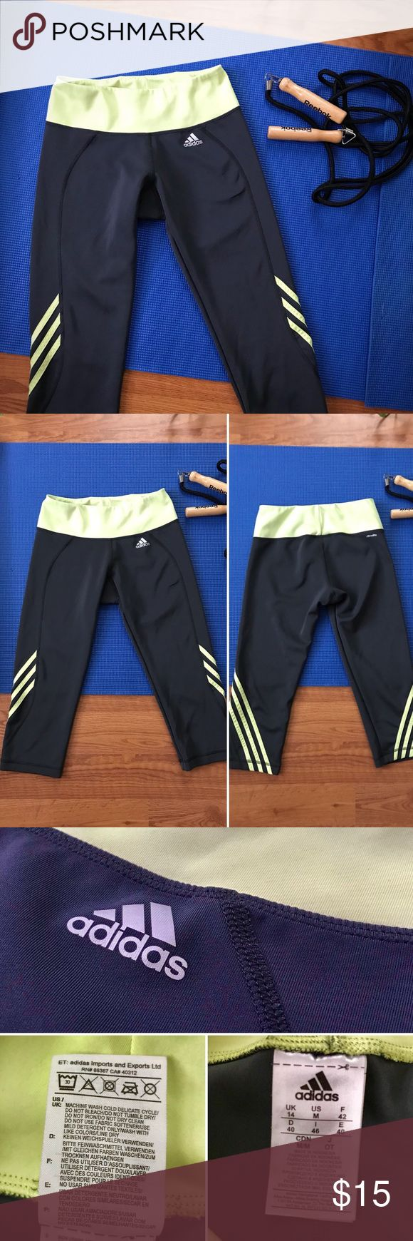 Adidas Gray & Lime Green Climalite Capri Leggings Adidas Capri Leggings:  • Climalite moisture-wicking material • Dark gray with bright lime accents • Polyester + Spandex blend • Condition: Like new! adidas Pants Leggings