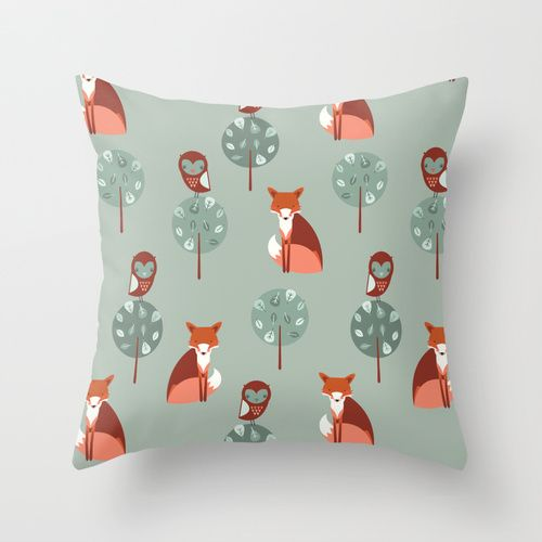 #Fox Woods Throw #Pillow | by The Chalk Lion
