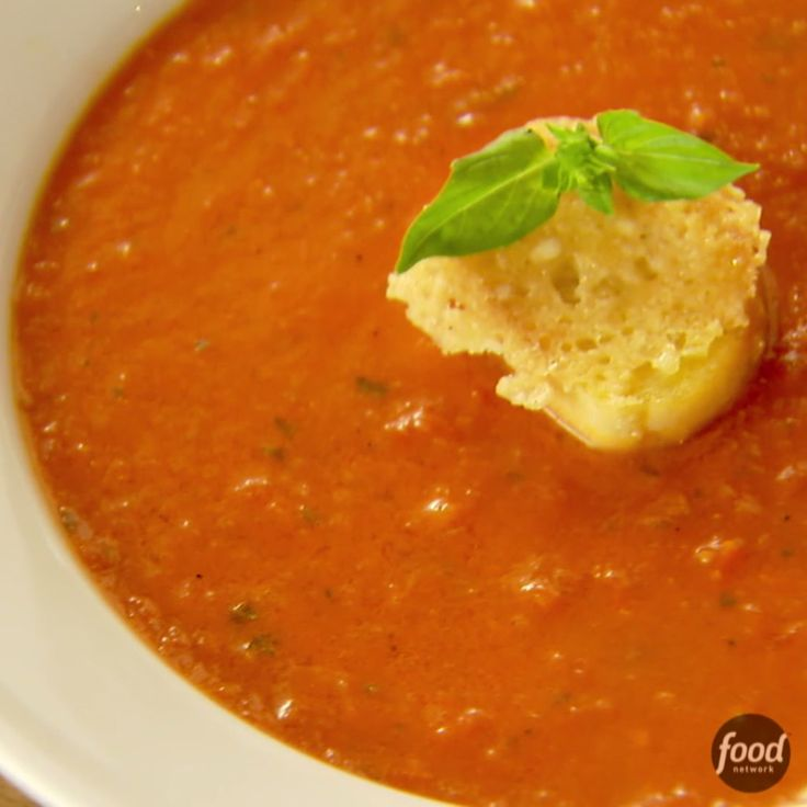 Tomato Soup with Parmesan Croutons, via The Pioneer Woman