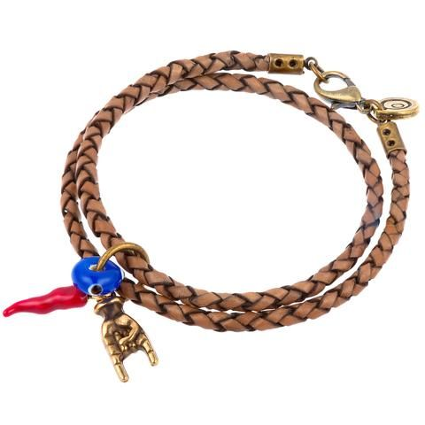 Dana Levy Cornicello Mano Hand Evil Eye Double Leather Braid Bracelet