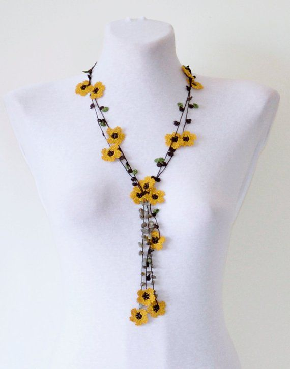 Beaded Crochet Necklace, Mustard Flowers Lariat, Autumn Necklace, Unique Gift For Women, Oya Beadwork Necklace, Boho Crochet Jewelry