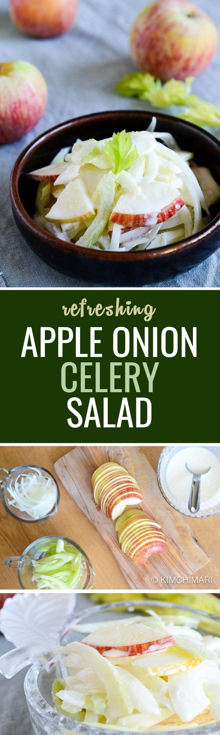 This Apple Onion Celery salad is creamy, slightly sweet, tangy and oniony which goes really well with any Korean meal as banchan and especially well with Korean BBQ meats.