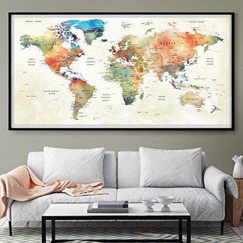 39 best amazon world map images on pinterest world maps extra office decor modern world map wall art print poster large https gumiabroncs Images